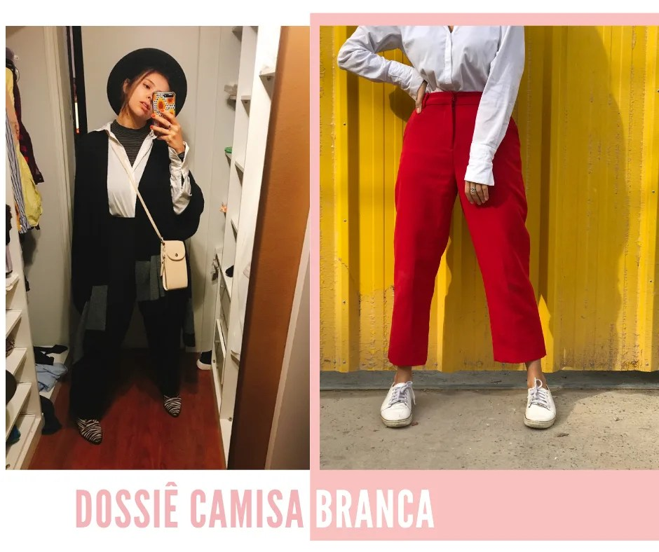 """Montagem com duas fotos dispostas lado lado. Na segunda, à direita, uma borda rosa decora. Foto 1(à esquerda): Marcie posa em frente a um espelho, com o celular na mão. O look é composto por blusa de gola alta listrada cinza usada por baixo de uma camisa branca, poncho preto, calça de alfaiataria preta, bota animal print de zebra e chapéu preto. Foto 2 (à direita): Marcie está escorada em uma porta de ferro pintada de amarelo. O ângulo só pega do peito para baixo e o look é composto por camisa branca, calça de alfaiataria vermelha e tênis branco. Abaixo das fotos, está escrito """"Dossiê camisa branca"""" em letras maiúsculas."""