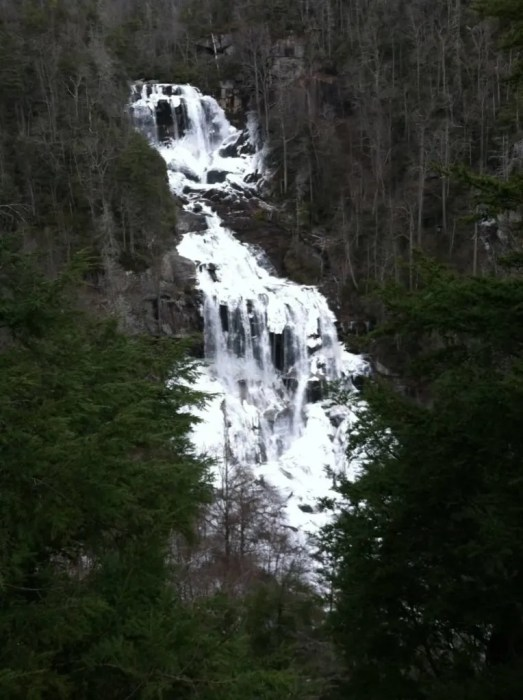 Winter view of Whitewater Falls in Sapphire NC