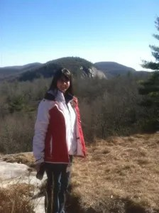 Woman and view of Panthertown Valley Cashiers NC