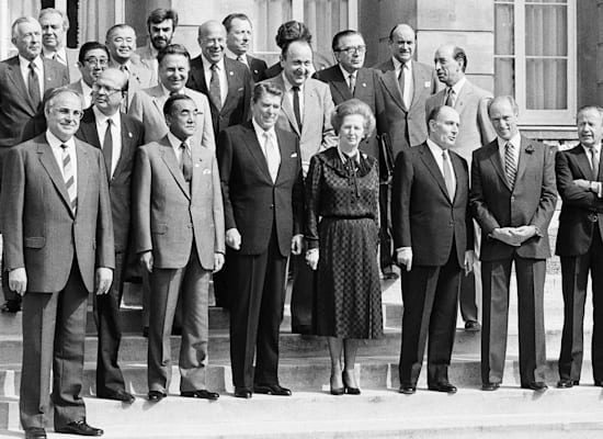 Trudeau (second from the right), Thatcher (center) and Kohl (left), London Economic Summit, June 1984 / Photo: Associated Press, Udo Weitz