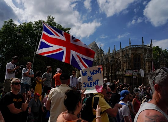 Demonstration outside the British Parliament against the continuation of the Corona restrictions, last week / Photo: Associated Press, Alberto Pezzali