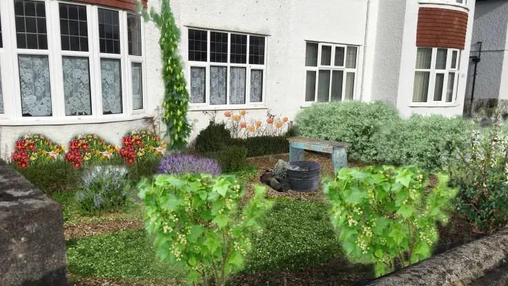 Fotomontage des Vorgartenfotos, auf der mögliche Pflanzen abgebildet sind