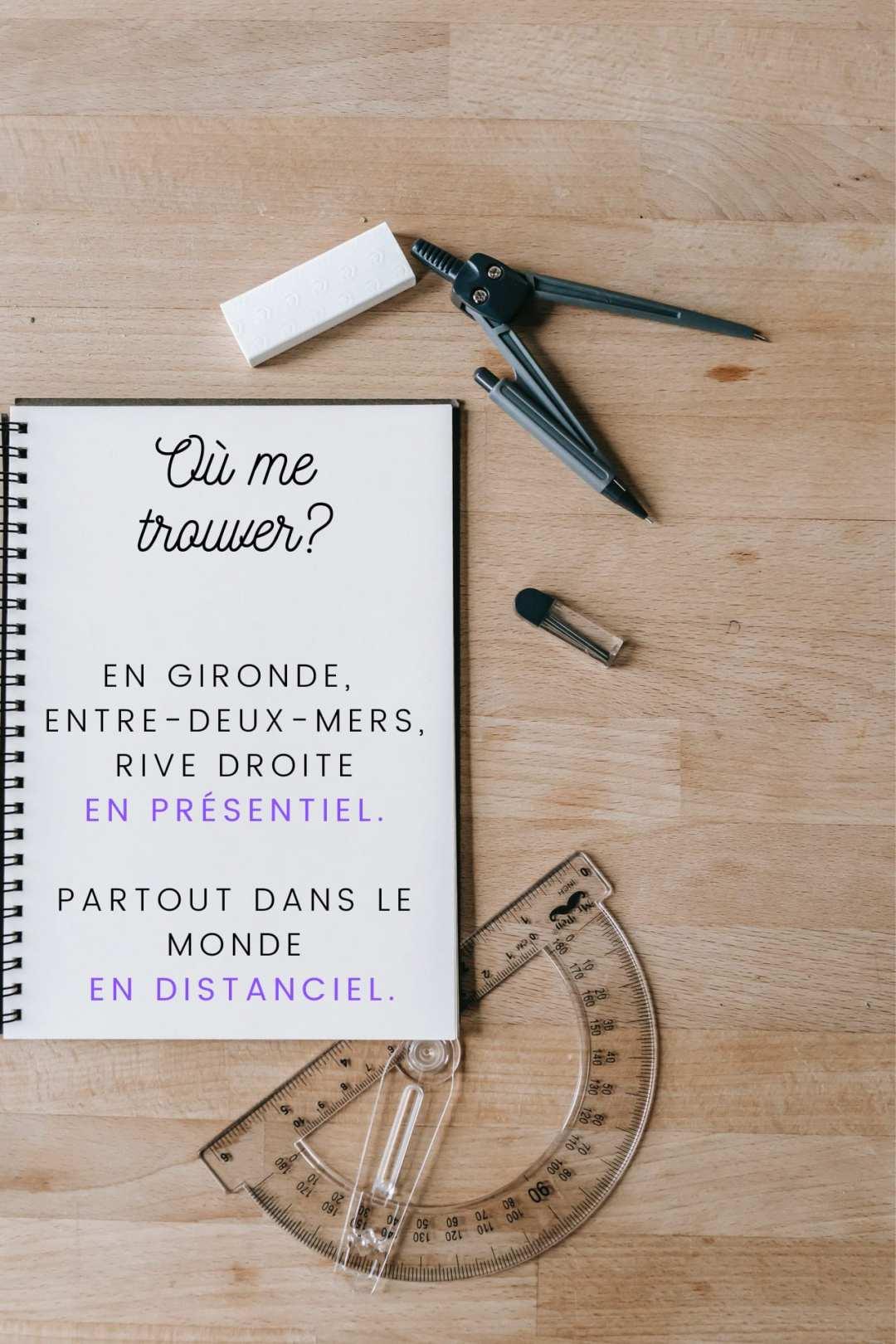 Carnet indiquant les lieux où je me déplace, la Gironde, l'entre deux mers, la rive droite.