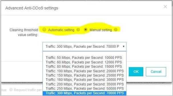 Ali Cloud Advanced Anti-DDoS settings