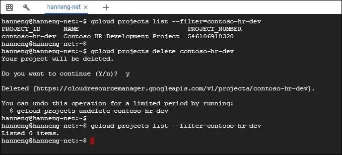 Google Cloud Project list delete project