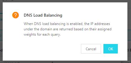 Alibaba Cloud DNS load balancing enable