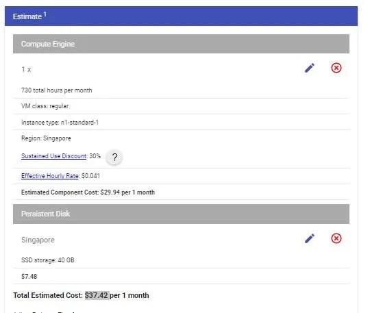 Google GCP pricing