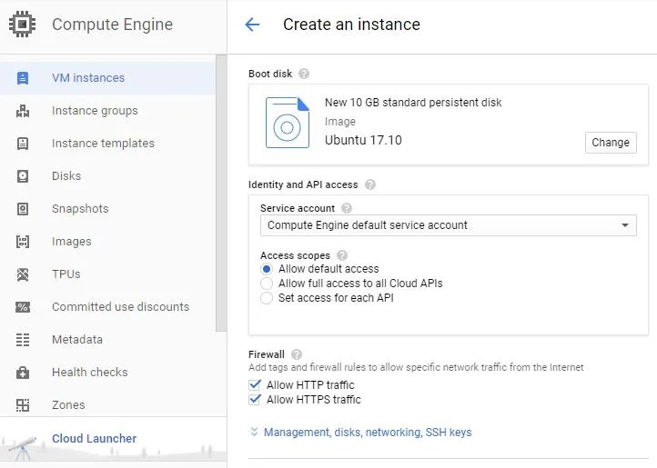 Google Cloud Platform Create an instance