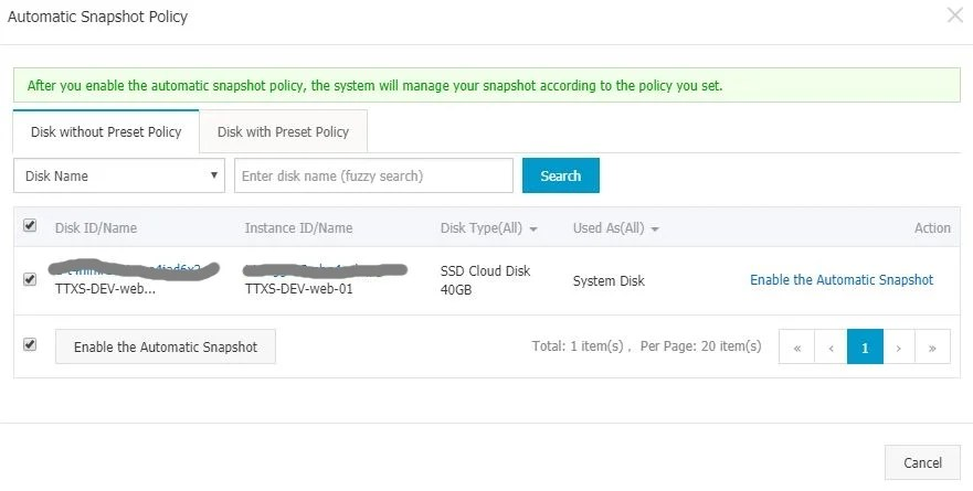 Manage Alicloud ECS Instance Enable Automatic Snapshot Policy