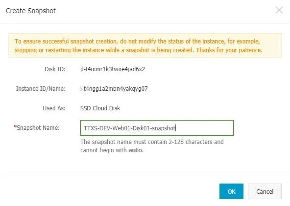 Manage Alicloud ECS Instance Disk Details Create Snapshot