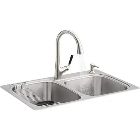 kohler dual mount double bowl kitchen