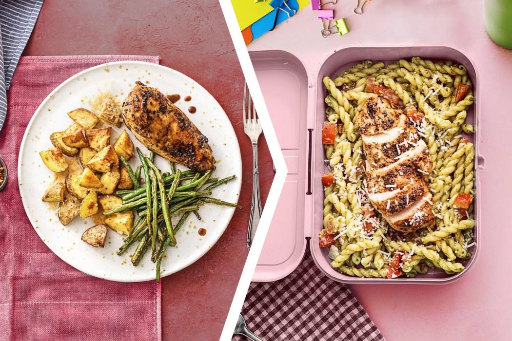 easy chicken dinner-Balsamic-Chicken-Dinner-chicken-pesto-pasta-lunch-HelloFresh