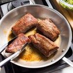 Perfect Pan Seared Pork Tenderloin Steaks America S Test Kitchen