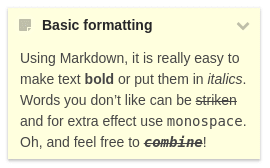 A notes widget with some basic Markdown formatting applied