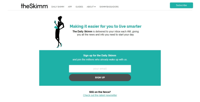 The Skimm is clearly marketed to 'urban women aged 22-34.'