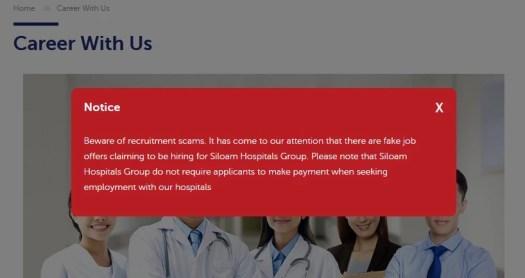 Notice avoid scam Siloam Hospital