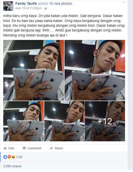 Status Tak Bermoral akun facebook Fandy Taufik