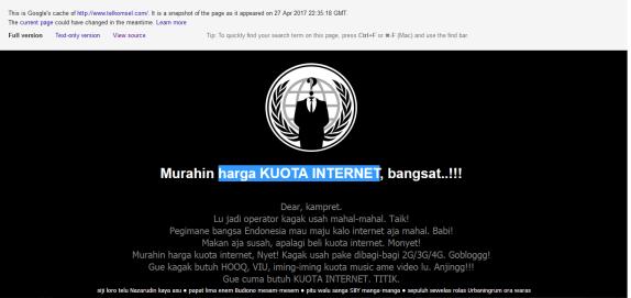 Web Resmi Telkomsel Kena Deface