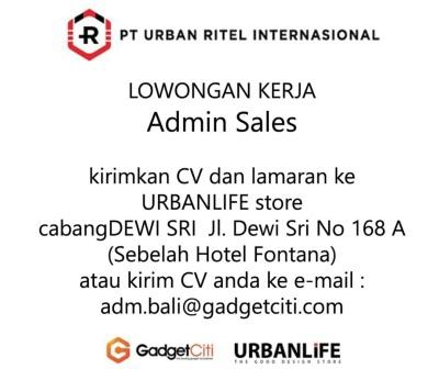 Lowongan Admin Sales PT Urban Ritel Internasional