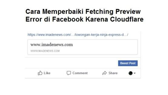 Cara Memperbaiki Fetching Preview Error di Facebook Karena Cloudflare