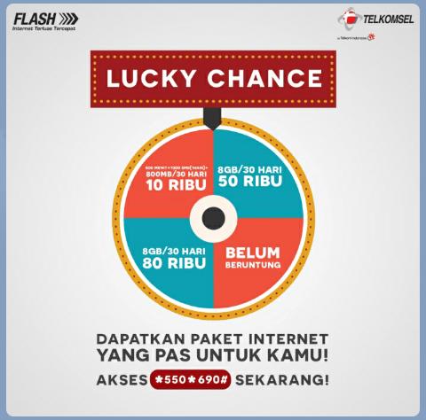 Telkomsel paket Internet 8Gb Mulai 10Rb Lucky Change