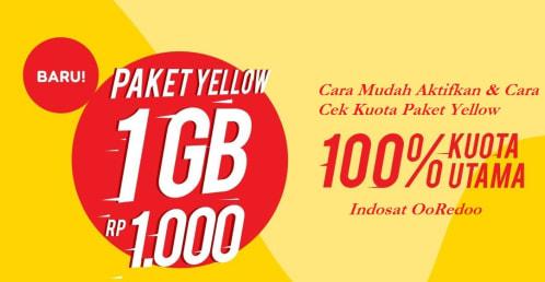 Cara Mudah Aktifkan dan cek kuota Paket Yellow Indosat Ooredoo