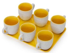 Somny White & Yellow 125 ML Cups with Tray Set of 7