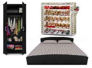 Bantia Queen Bed Set with 2 Door Wardrobe & Free Shoe Rack