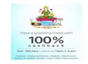 Paytm Diwali Cashback Sale Offers - Get 100% Cashback 3 - 5 Nov.