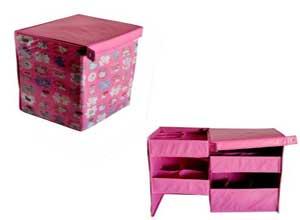 Pindia Foldable Pink Kitty Design Storage Box Organizer