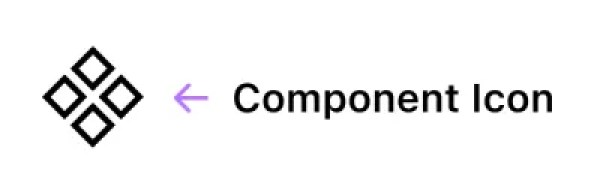 L'icône du composant Figma, elle est composée de quatre carrés tournés à 45 degrés.
