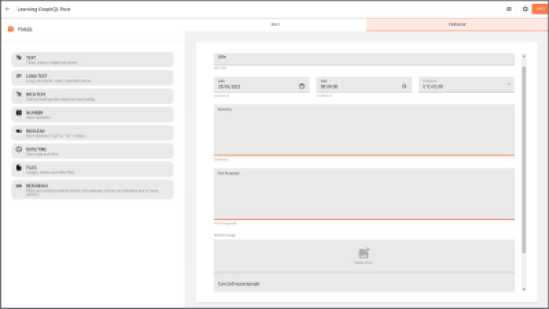 Aperçu montrant tous les champs supprimés dans l'éditeur de modèle de contenu.