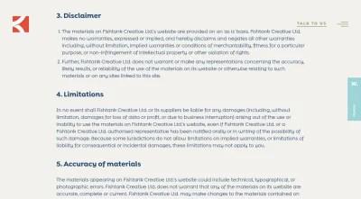 La page de politique de confidentialité de Fishtank Agency