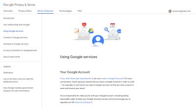 Page des conditions d'utilisation de Google avec barre latérale de navigation collante