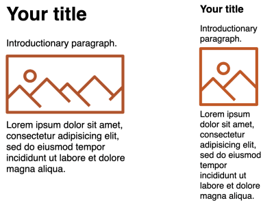 Two example page layout mockups with the first being a desktop layout using a wide banner-style image, and the second, mobile, layout using a square image.