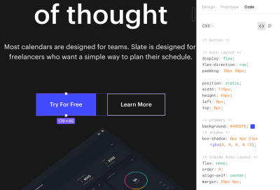 onglet de code affichant les propriétés CSS de l'élément sélectionné