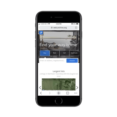 Zillow mobile homepage in 2017