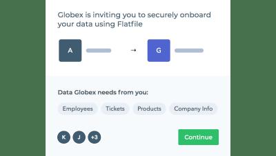 Flatfile Concierge - demande d'intégration de données sécurisée pour un employé, un ticket, un produit et informations sur l'entreprise