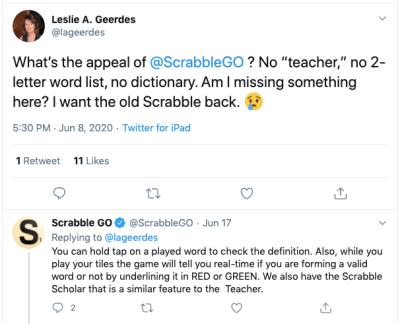 Twitter user @lageerdes tells Scrabble GO she wants the old app back