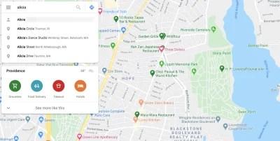 Google Maps predictive search example 'Alicia'