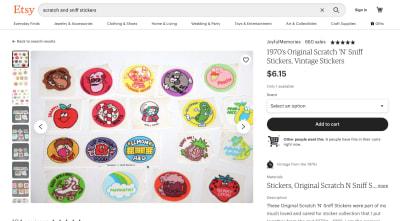 Etsy - Autocollants Scratch 'N' Sniff originaux des années 1970