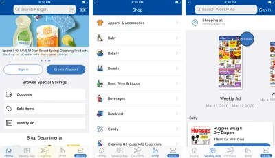 Three screenshots from the redesigned Kroger app, including the home section, shop section, and weekly ads.