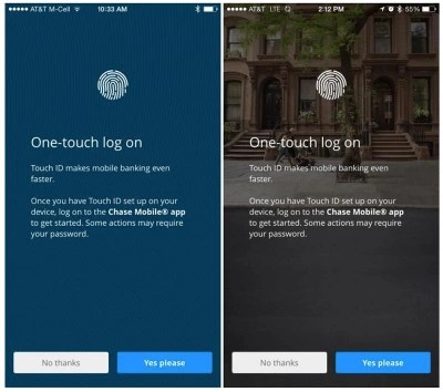 Chase Mobile's app provides a one-touch log-in feature.