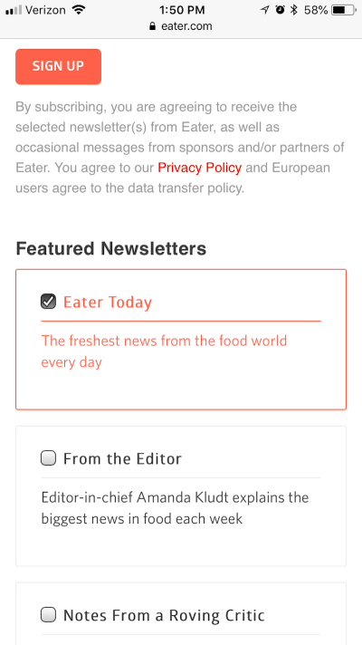 Eater auto signup