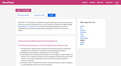 Page légale de BuzzFeed: Politique de confidentialité, accord utilisateur, DMCA (pour les utilisateurs au Mexique)