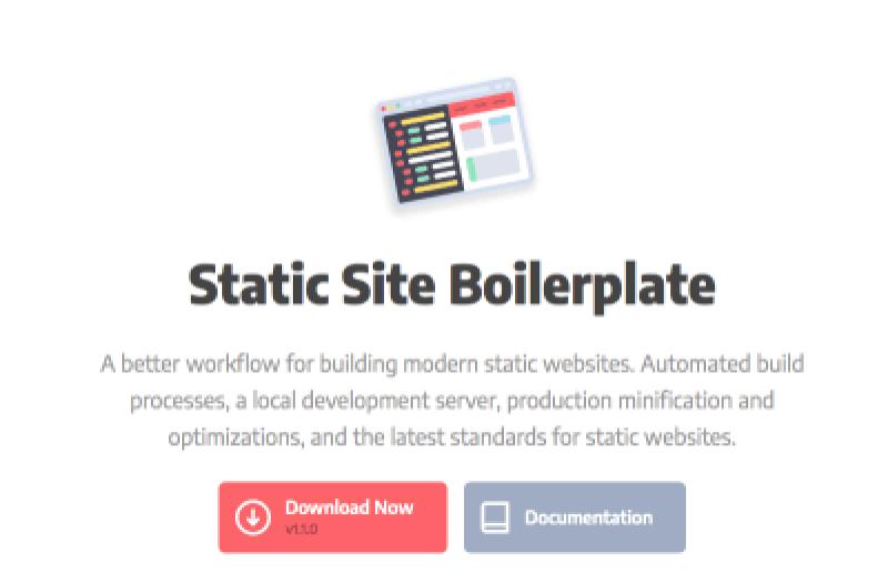 Le site statique Boilerplate utilise les dernières technologies pour rendre la création de sites statiques plus simple.