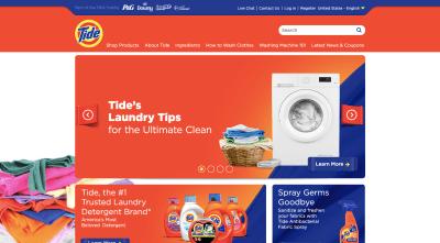 Page d'accueil de Tide avec photo du linge fraîchement nettoyé et plié en plus de la laveuse