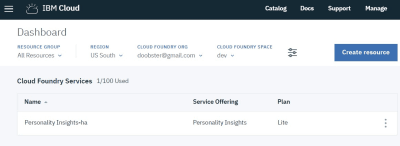 Create the Personality Insights Service