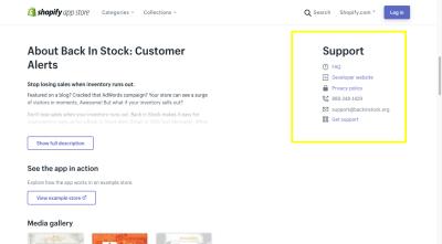 L'application Oberlo Shopify fournit une assistance sous forme de FAQ, site Web développeur, politique de confidentialité et lien d'assistance directe