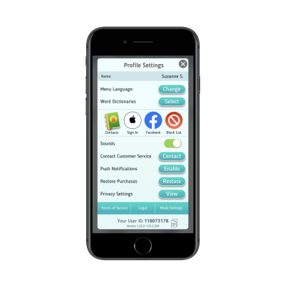 Scrabble GO settings with 'Mode Settings'